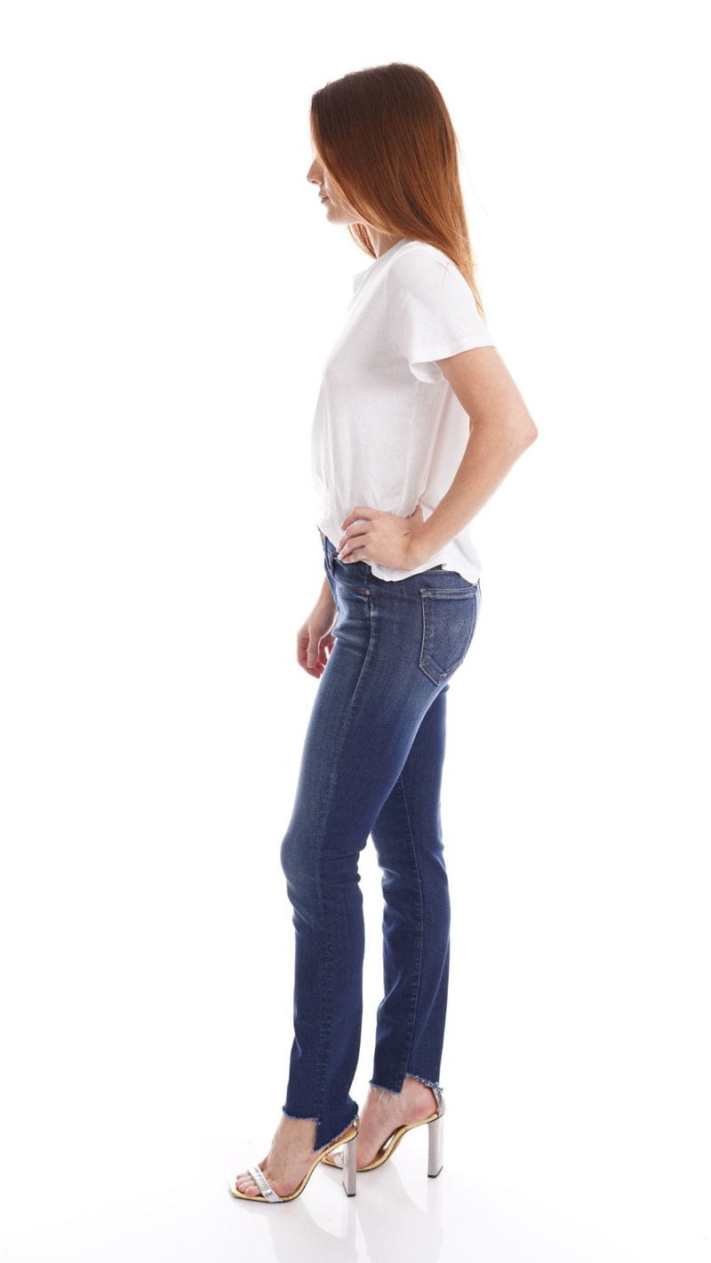 MOTHER Denim The Looker Skunk at the Tea Party Two Step Ankle Fray Jeans