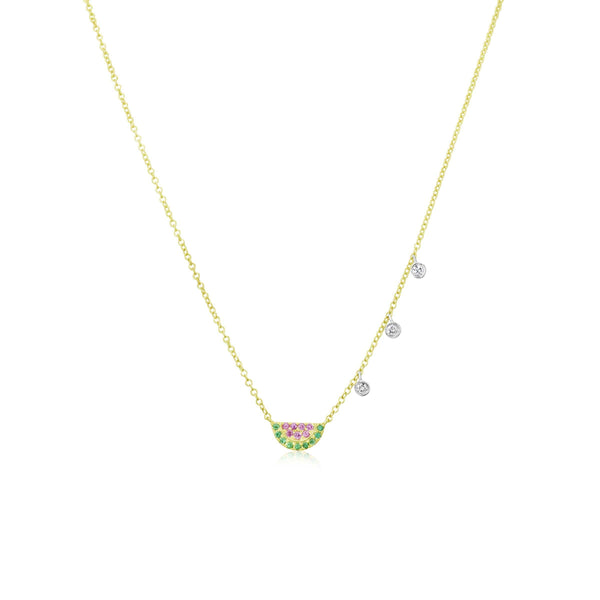 Meira T 14K Yellow Gold Ruby and Diamond Watermelon Necklace