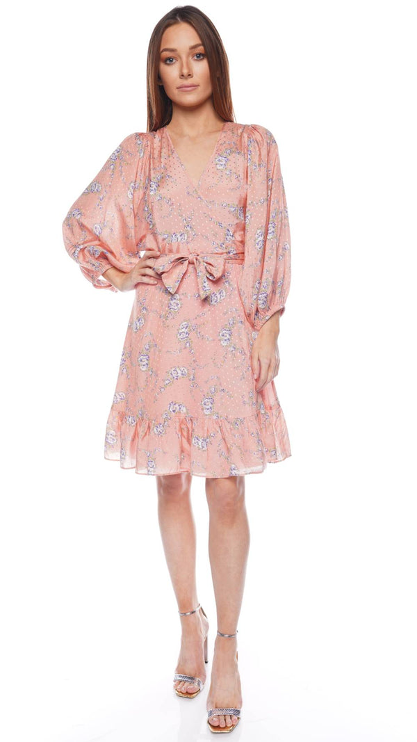 Delicate Flowervine Mini Wrap Dress