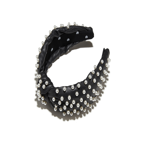 Lele Sadoughi - Jet Faux Leather Pearl Knotted Headband