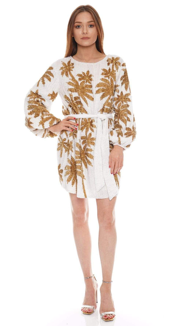 Retrofête Grace Gold Palm Sequined Mini Dress