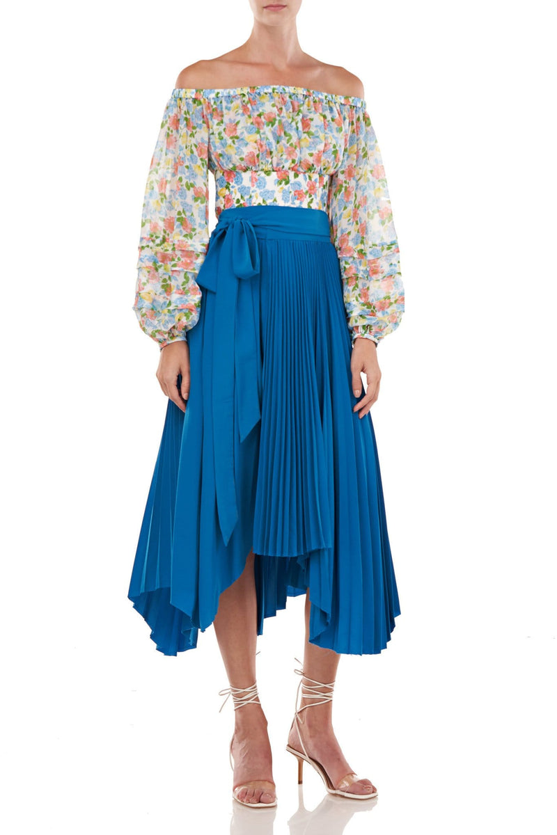 AMUR - Delia Pleated Wrap Midi Skirt