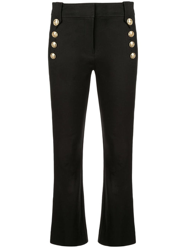 Derek Lam 10 Crosby - Robertson Black Cropped Flare Trousers with Sailor Buttons