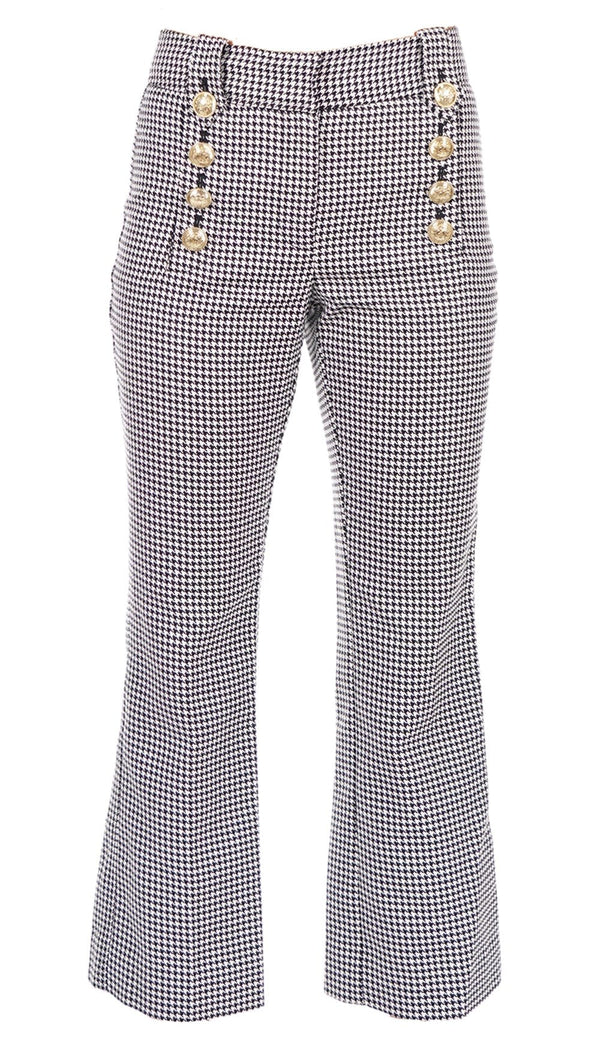 Corinna Houndstooth Cropped Flare with Sailor Buttons