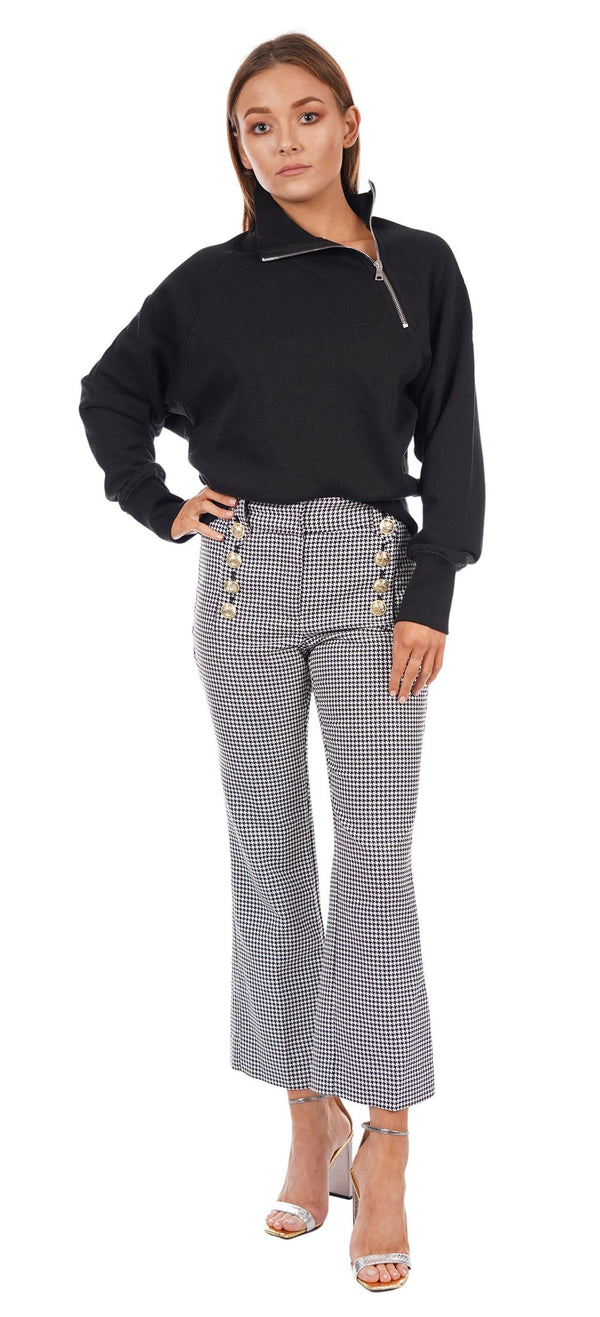 Derek Lam 10 Crosby Corinna Houndstooth Cropped Flare with Sailor Buttons