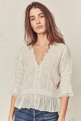 LoveShackFancy - Devon Embroidered Lace Top