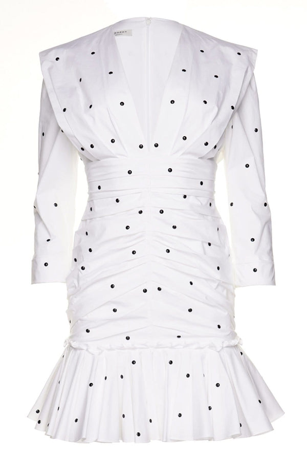 White Dot Stretch Poplin Mini Dress