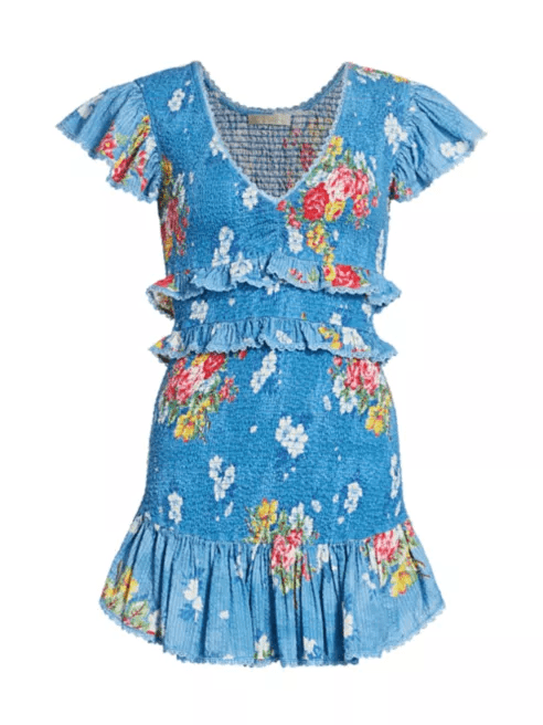 Sonora Floral Smock Tiered Ruffle Sheath Dress