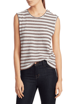 Derek Lam 10 Crosby - Kahlua Metallic Striped Tank