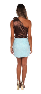 Retrofête Frances Baby Blue Sequin Mini Skirt