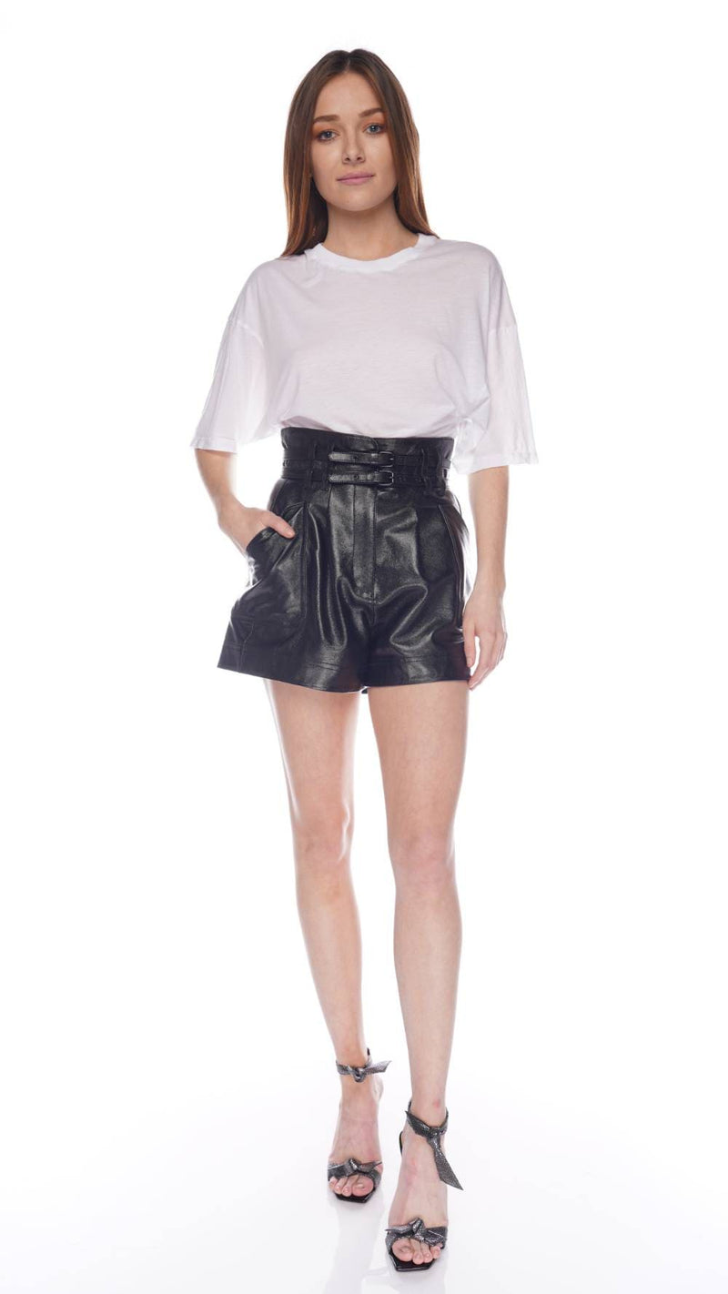 Black High Waisted Belted Leather Shorts