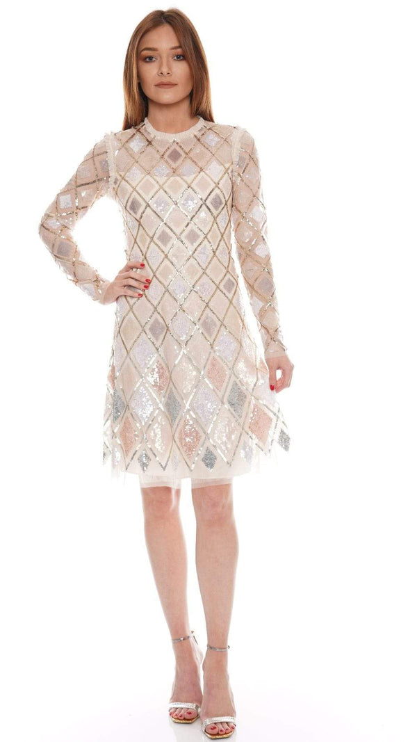 Needle & Thread Champagne Sequin Diamond Long Sleeve Mini Dress