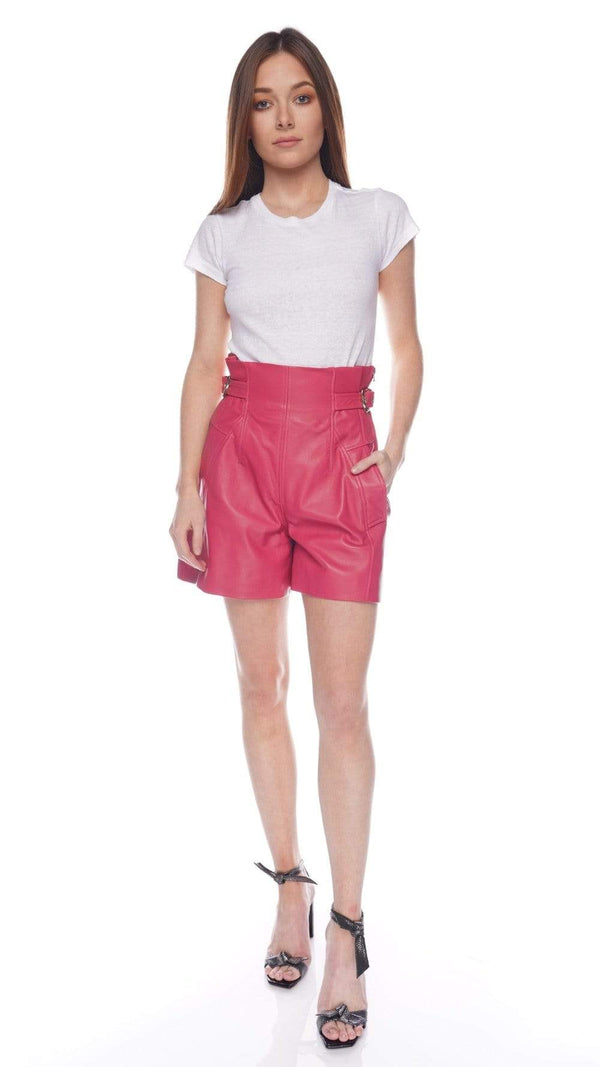 Fuchsia Goatskin High-Rise Shorts