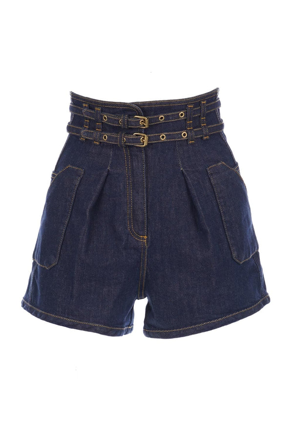 PHILOSOPHY DI LORENZO SERAFINI - Denim Buckled High Waisted Shorts