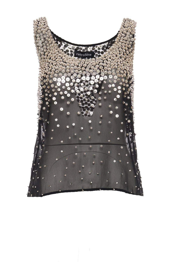 Retrofête - Marissa Black and Silver Sequined Tank
