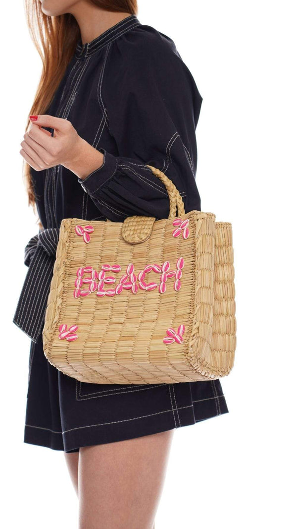 POOLSIDE - Straw Briefcase With Embroidered BEACH Shells