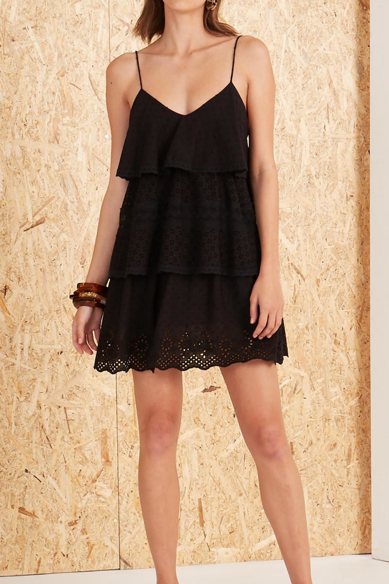 Elati Eyelet Tiered Mini Dress