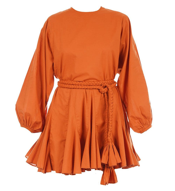 Ella Long Sleeve Cotton Mini Dress in Cinnamon