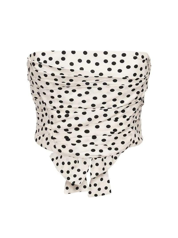 PHILOSOPHY DI LORENZO SERAFINI - Printed Polka Dot Strapless Crop Top