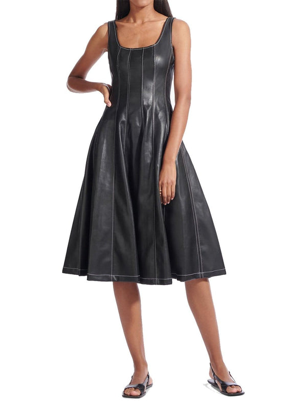 Wells Vegan Leather Midi Dress