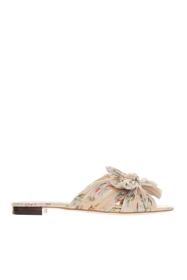 Daphne Floral Pleated Knot Leather Sandals