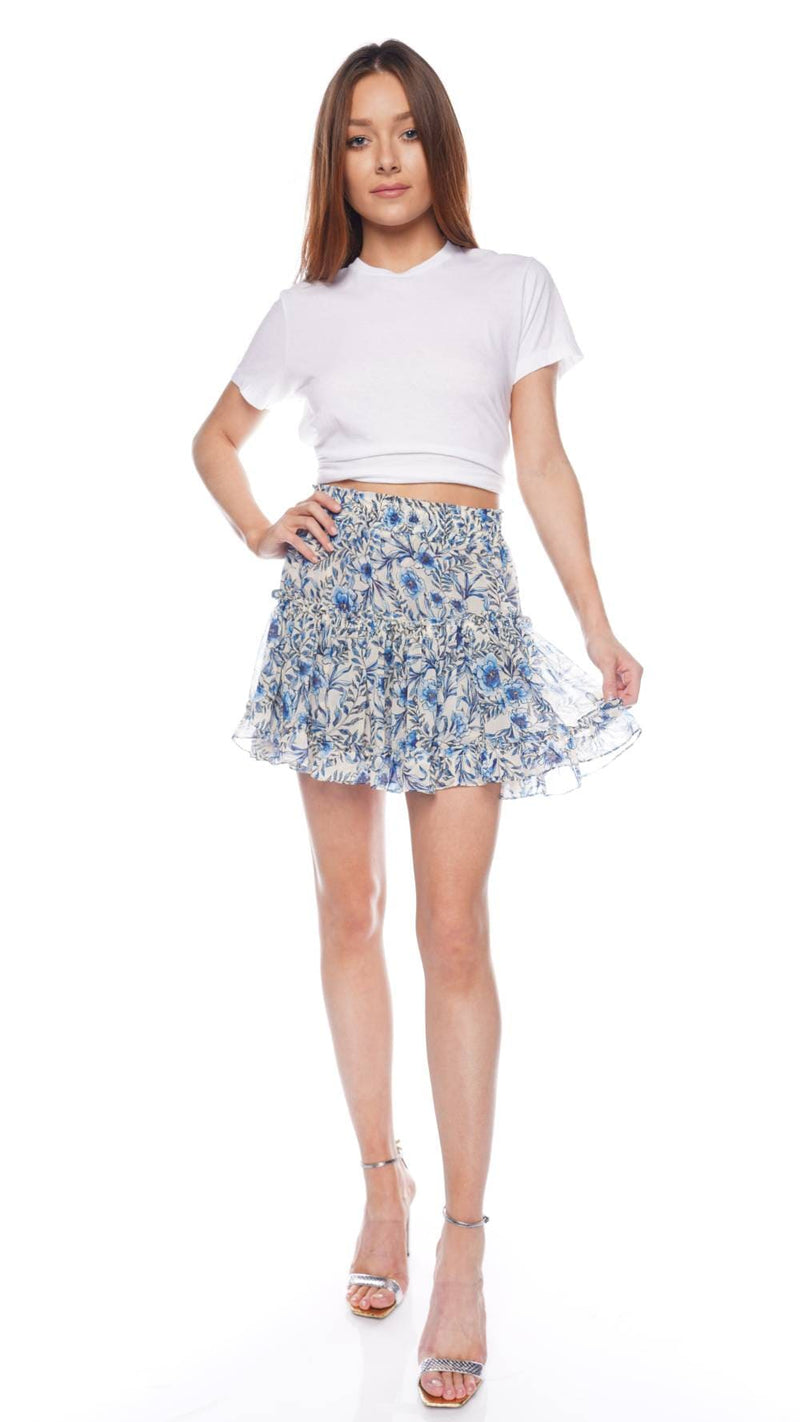 Marion Indigo Bloom Tiered Mini Skirt
