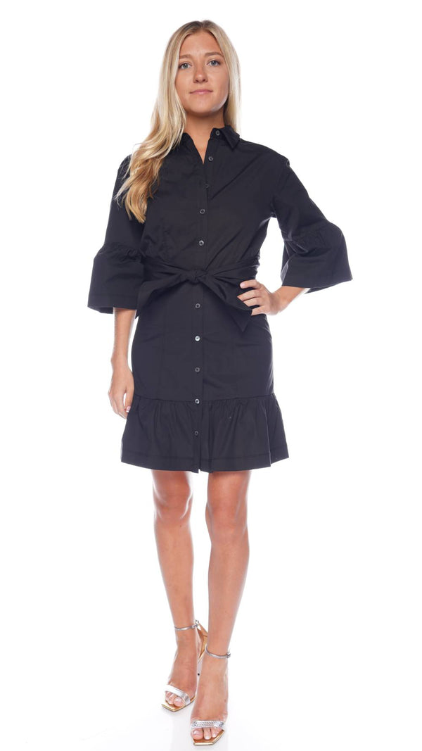 Veronica Beard Luriane Flared-Cuff Belted Mini Shirtdress