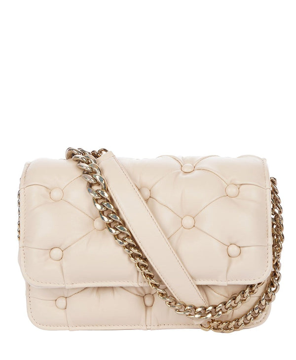 Benedetta Bruzziches Carmen Cream Handbag With Glitter Chain