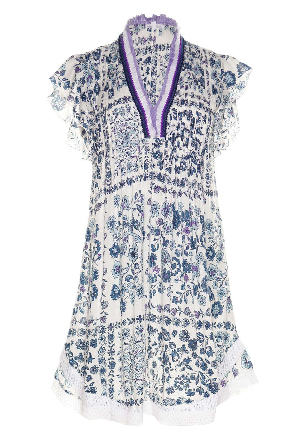 Sasha White & Blue Foulard Lace Trim Mini Dress