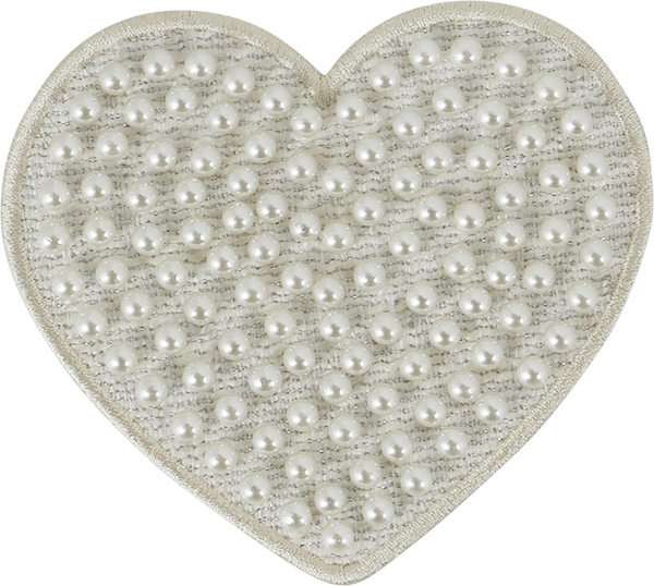 Jumbo Cozy Pearl Heart Icon Patch