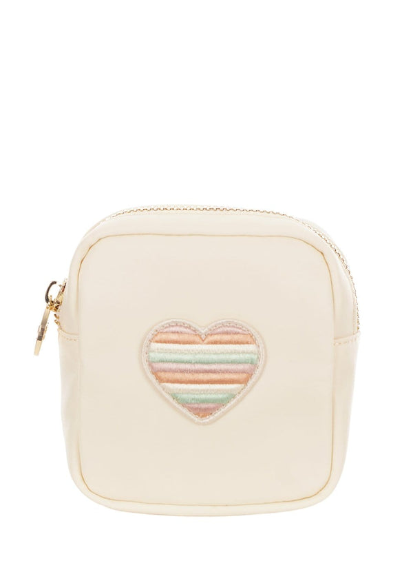 Mini Pouch With Embroidered Heart Patch