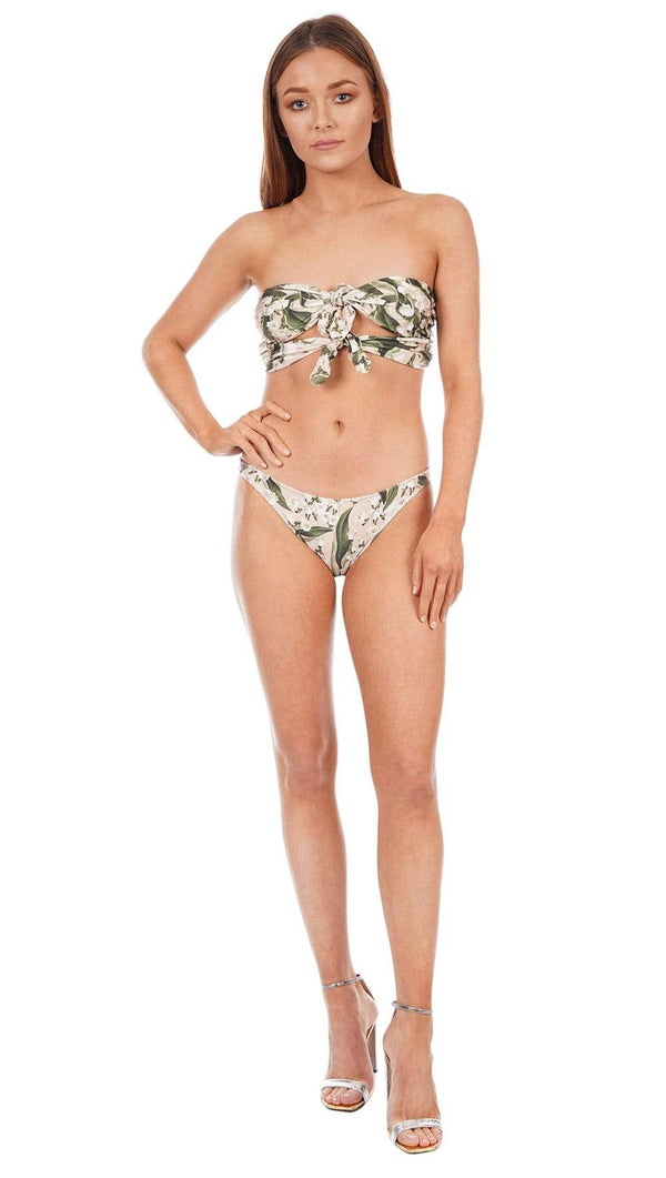 ADRIANA DEGREAS - Floral Strapless Bikini with Double Knot