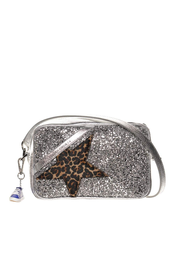 Logo Leopard Star Glitter Crossbody Bag