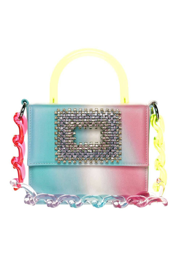 Gedebe Tie-Dye Leather & Crystal Box Bag