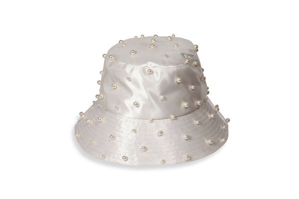 Jennifer Behr - Mallorie Ivory Pearled Bucket Hat