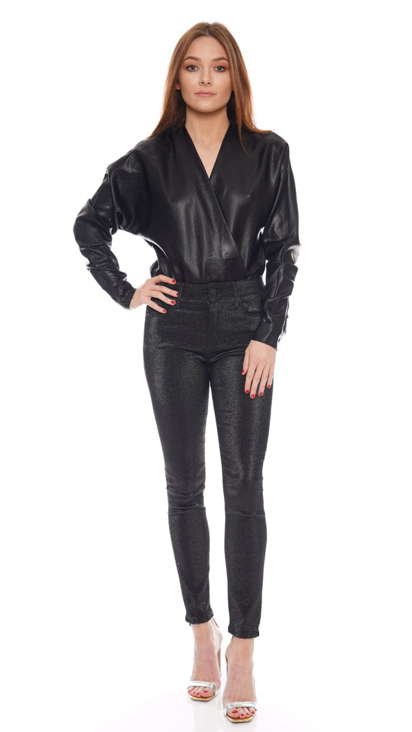 RtA - Alya Black Silk Long Sleeve Bodysuit
