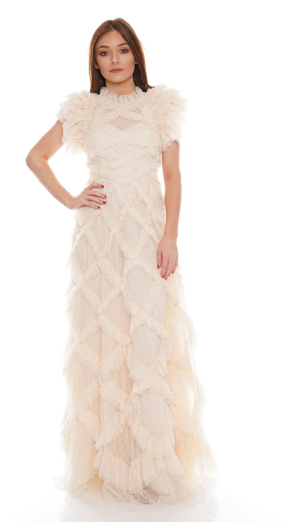 Needle & Thread - Genevieve Champagne Ruffle Gown