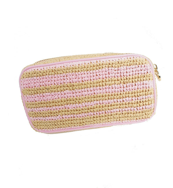 Flamingo and Straw Woven Small Pouch