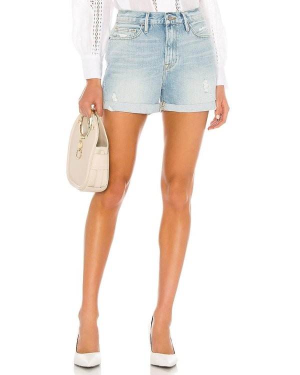 FRAME - Le Beau Cuffed Tattered Shorts