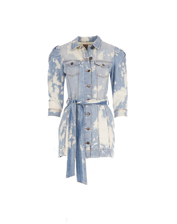 Lema Belted Bleached Denim Mini Dress
