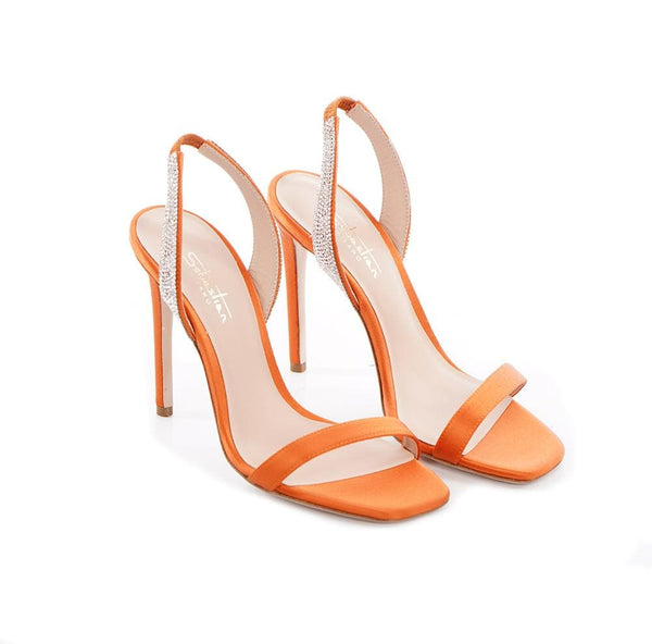 Sebastian - Elisa Orange Sling Back Crystal Satin High Heel Sandal