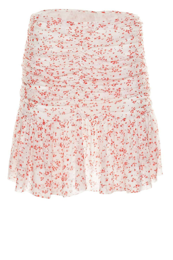 Printed Georgette Ruched Floral Mini Skirt