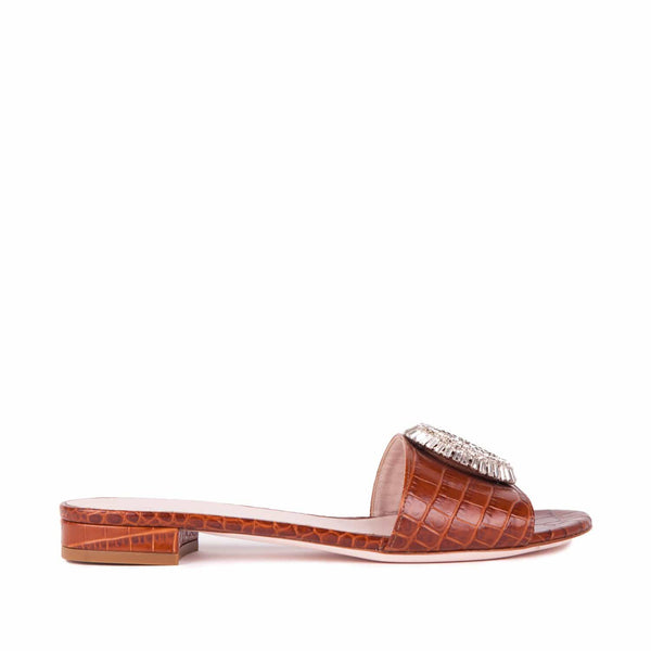 Gedebe - Croc Stamped Leather Slide With Crystal