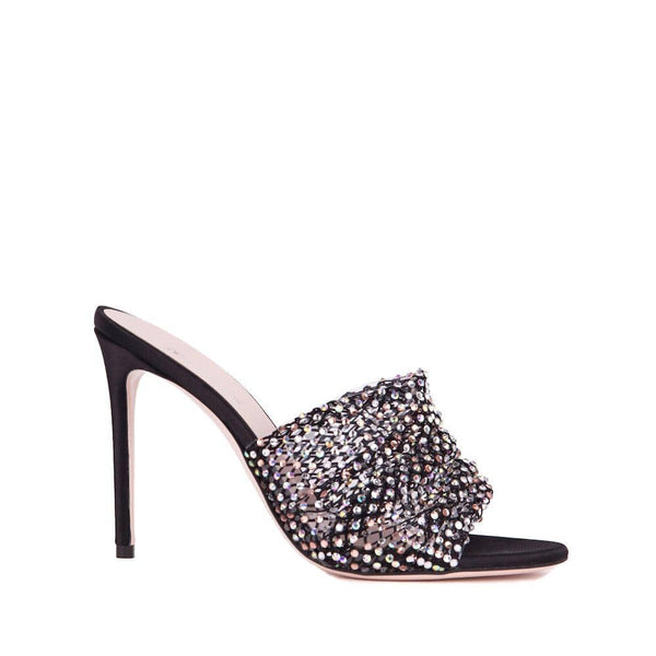 Gedebe - Black Satin Crystal Mule