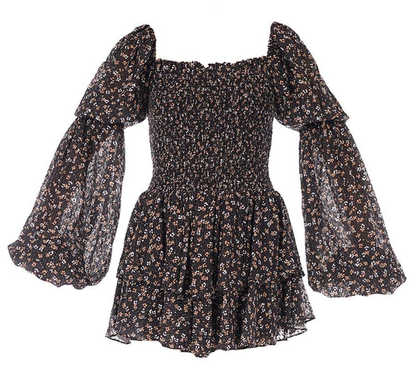 Alexa Smocked Long Sleeve Floral Lurex Mini Dress