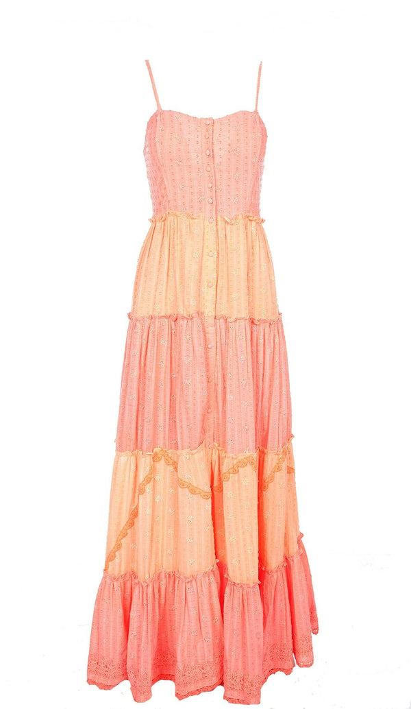 Dayo Neon Pink and Orange Embroidered Maxi Dress