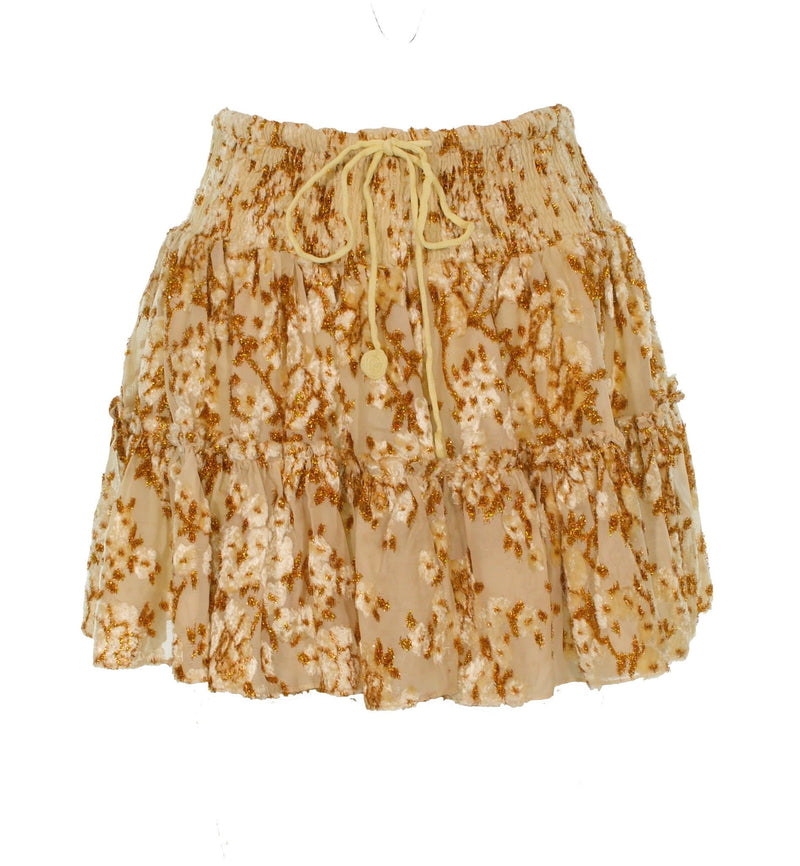 Inara Gold Floral Mini Skirt