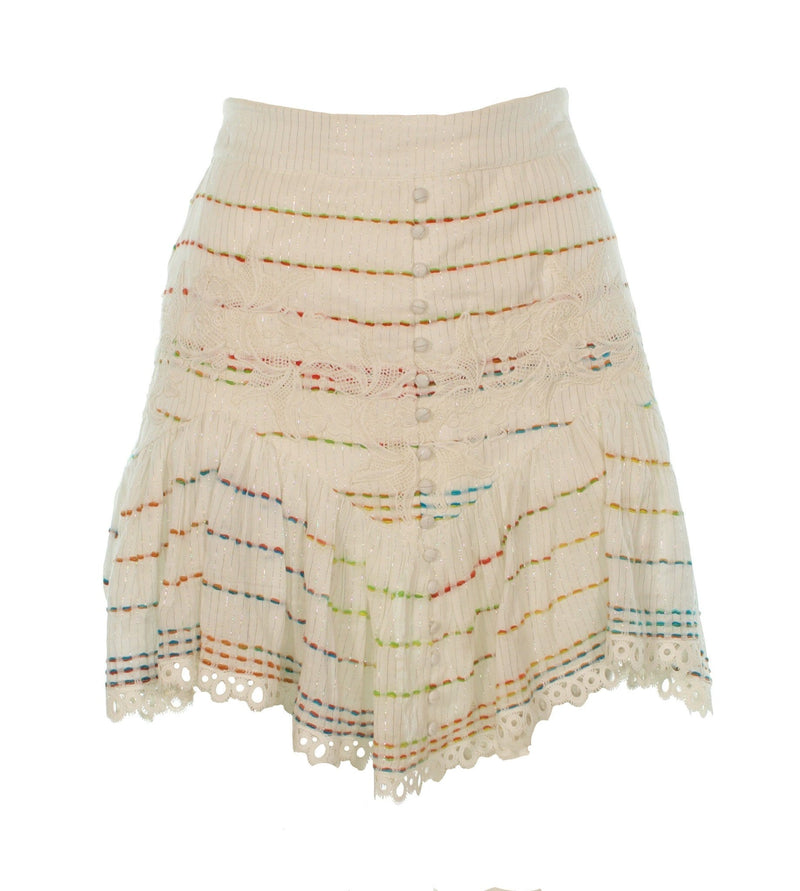 Hemant and Nandita - Thea Rainbow Stitch Lace Mini Skirt