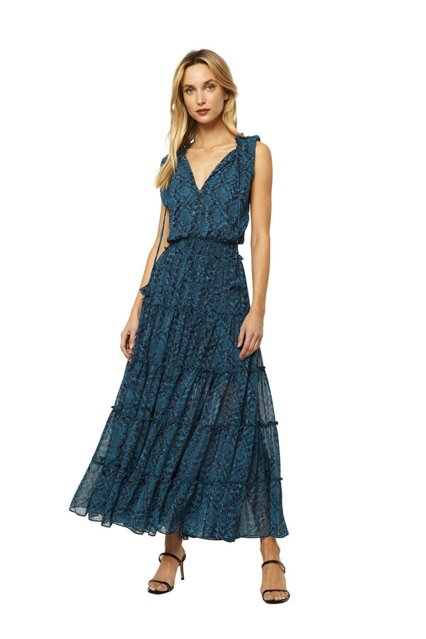 Hollen Teal Snake Print Tiered Maxi Dress