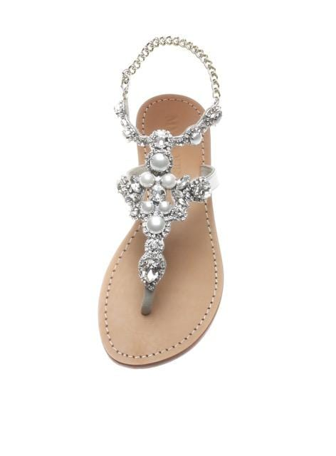 MYSTIQUE - Crystal Cluster Sandals With Chain Ankle Strap
